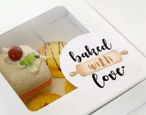 Cake Box Labels, Cake Box Stickers, Bakery Display Labels